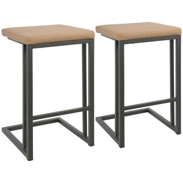 Roman 26 in. Camel Faux Leather with Grey Counter Stool (Set of 2)