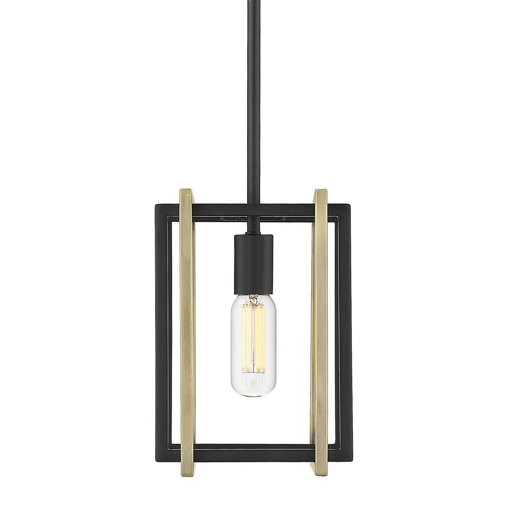 Golden Lighting Tribeca 1 Light Black With Aged Br Accents Mini Pendant