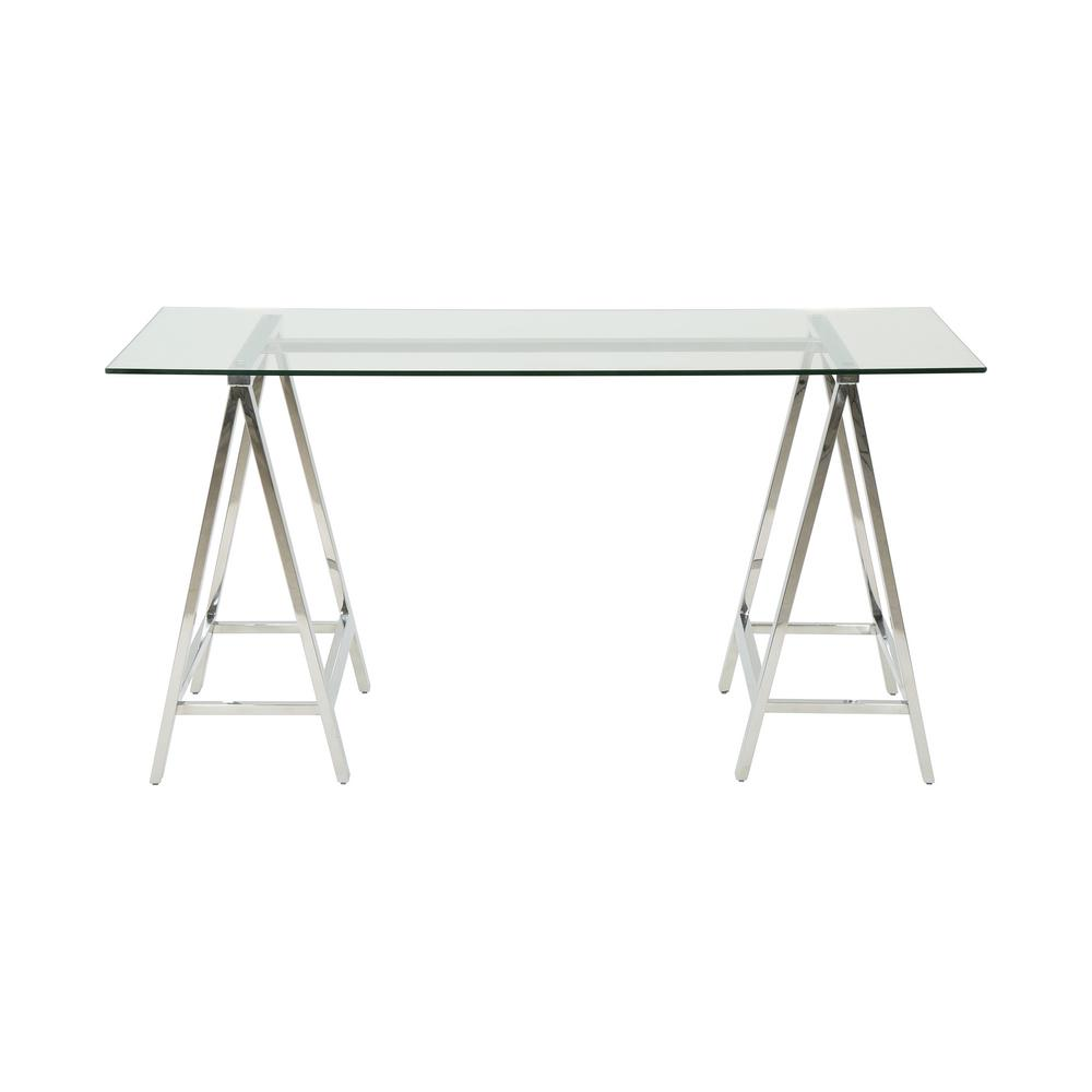 Gilia Glam Clear Tempered Glass Desk with Silver Stainless Steel Frame