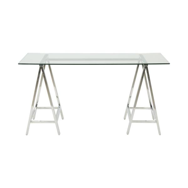 Noble House Gilia Glam Clear Tempered Glass Desk with Silver Stainless Steel Frame