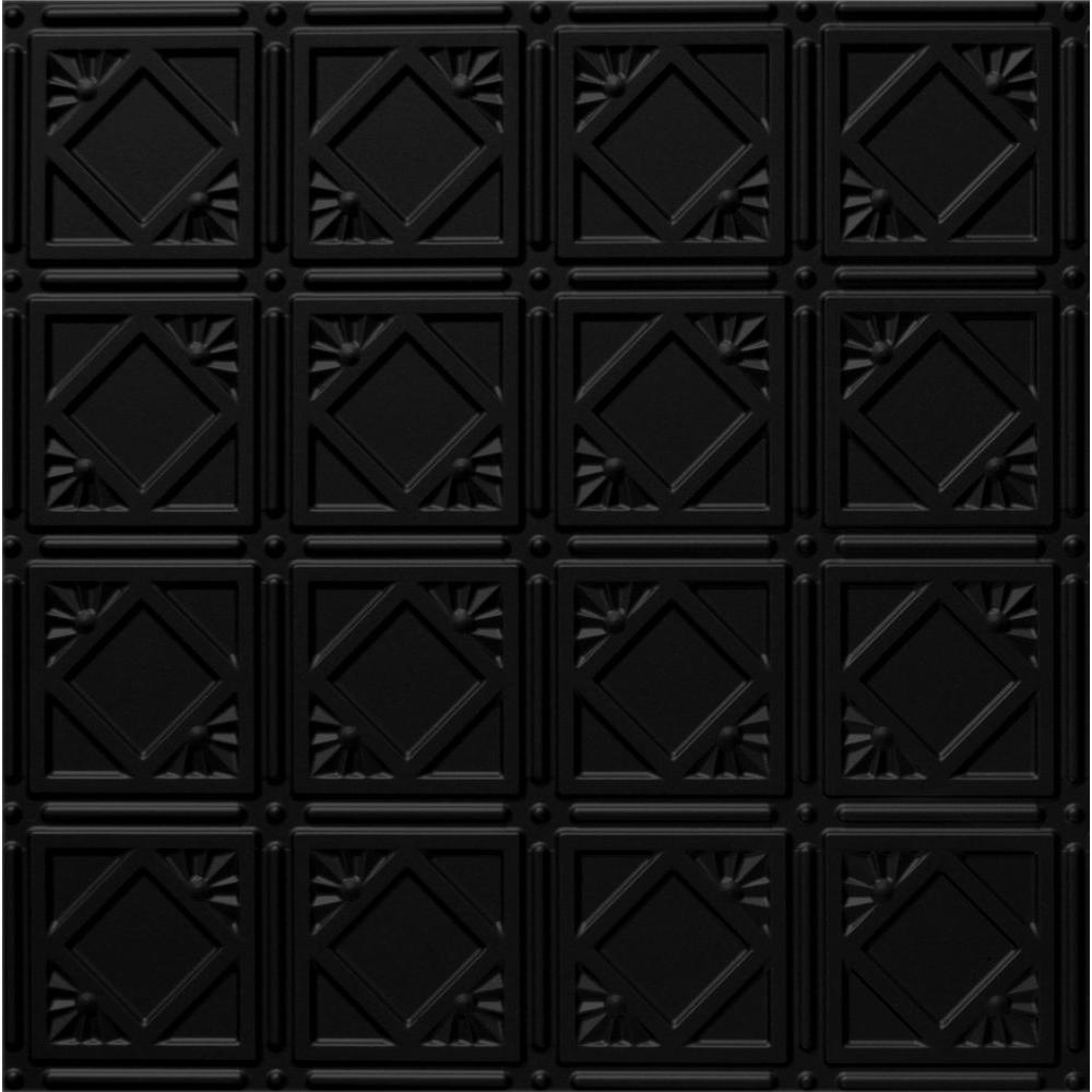 Dimensions 2 ft. x 2 ft. Matte Black Lay-in Tin Ceiling