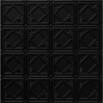 Dimensions 2 ft. x 2 ft. Matte Black Lay-in Tin Ceiling Tile for T-Grid Systems