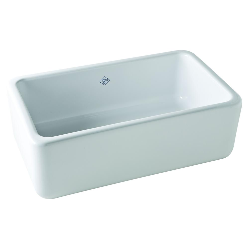 ROHL Lancaster Farmhouse/Apron-Front Fireclay 30 in. Single Bowl Kitchen Sink in White
