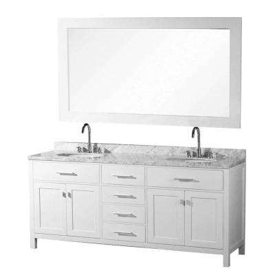 London 72 in. W x 22 in. D Vanity in Pearl White with Marble Vanity Top and Mirror in Carrera White