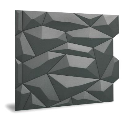 24'' x 24'' Glacier PVC Seamless 3D Wall Panels in Smoked Gray 6-Pieces