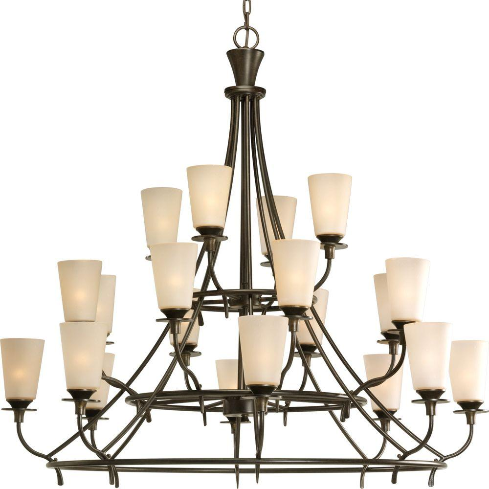 Progress Lighting Cantata Collection 20-Light Forged Bronze Chandelier with Shade with Seeded Topaz Glass Shade