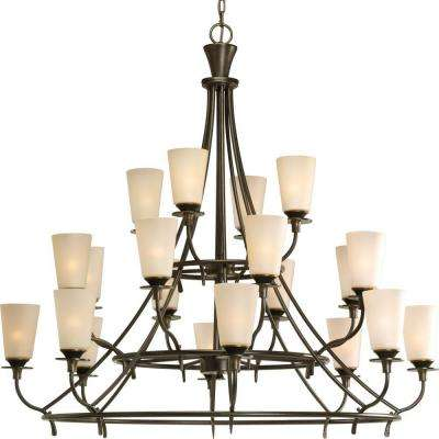 Cantata Collection 20-Light Forged Bronze Chandelier with Shade with Seeded Topaz Glass Shade