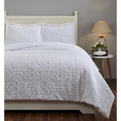Double Wedding Ring 90 in. X 90 in.  White Full/Queen Comforter with 20 in. X 26 in. 2-Standard Sham
