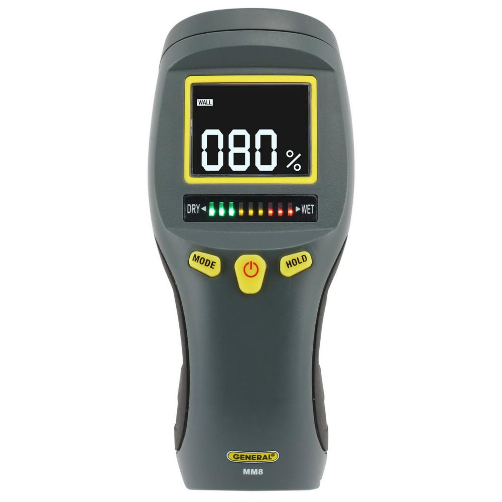 General Tools Professional Digital Pinless Moisture Meter with Backlit LCD