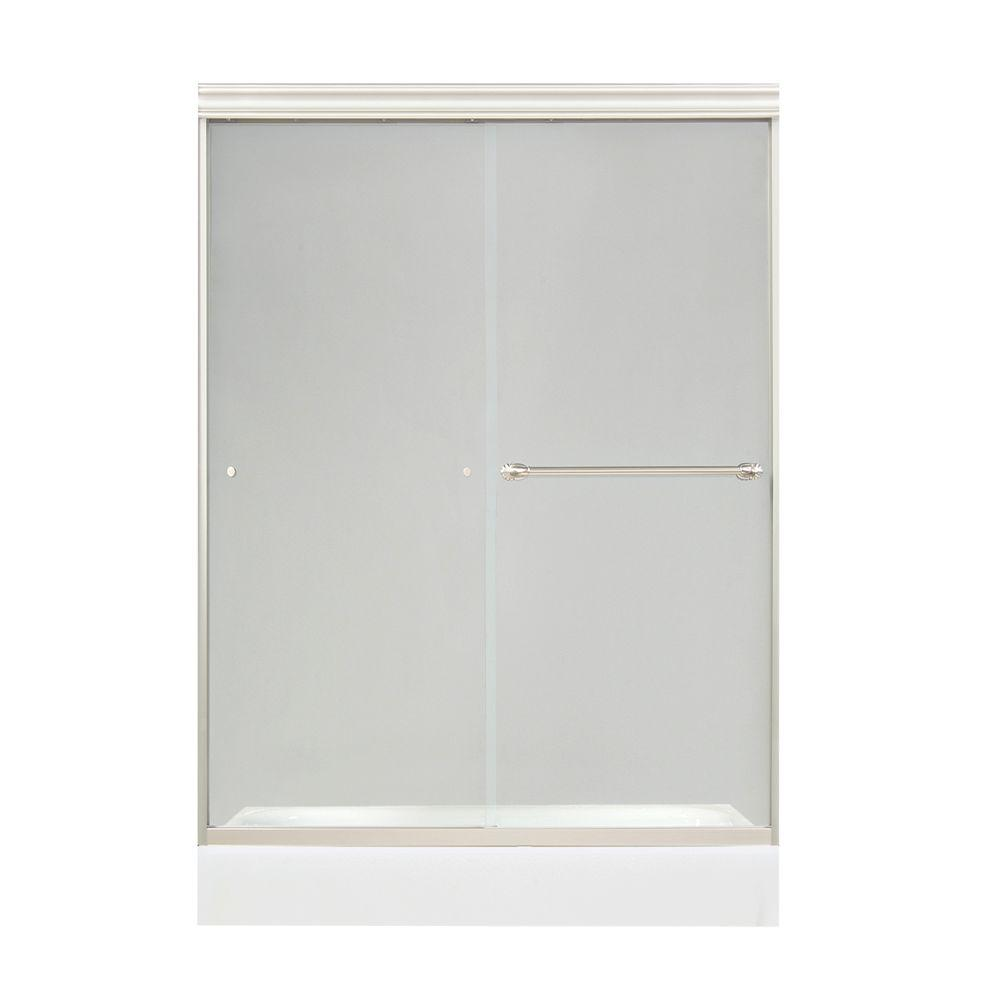 MAAX Filgree 47-1/2 in. x 71 in. Frameless Sliding Shower Door in Satin Nickel with 6MM Clear Glass-DISCONTINUED