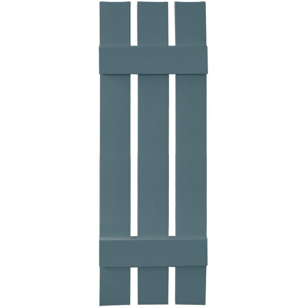 12 in. x 39 in. Board-N-Batten Shutters Pair, 3 Boards Spaced #004 Wedgewood Blue