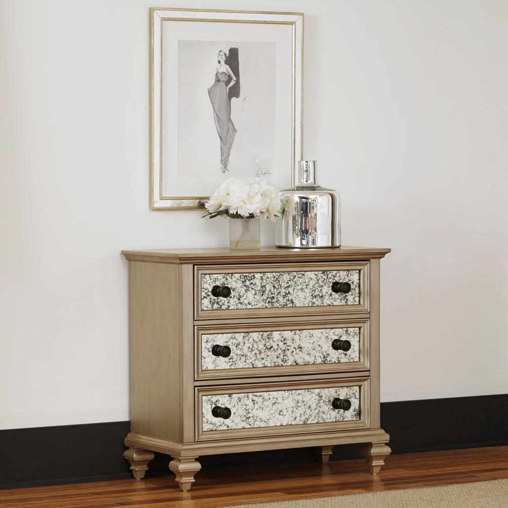 Home Styles Visions 3 Drawer Silver Gold Champagne Finish Chest