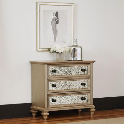 Visions 3-Drawer Silver Gold Champagne Finish Chest
