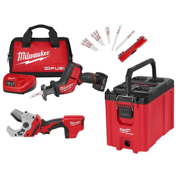 PACKOUT 10 in. Compact Tool Box W/ M12 FUEL HACKZALL Reciprocating Saw Kit & M12 PVC Pipe Shear