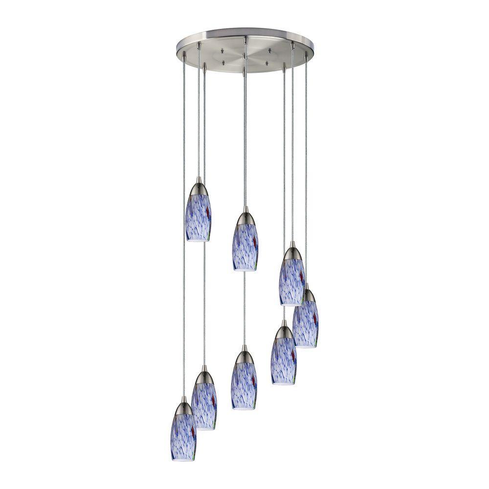 Nickel blue mini pendant lights lighting the home depot milan 8 light satin nickel and blue pendant aloadofball Images