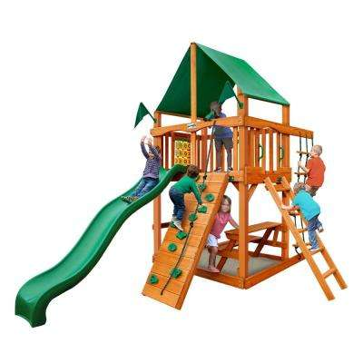 Chateau Tower with Amber Posts and Deluxe Green Vinyl Canopy Cedar Swing Set