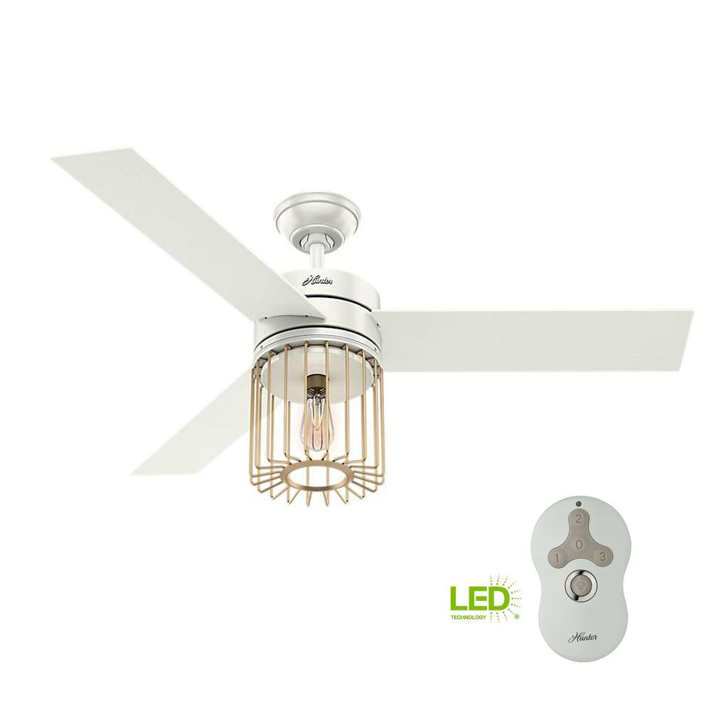 Hunter Ronan 52 In Led Indoor Fresh White Ceiling Fan With Remote