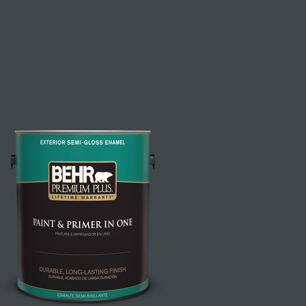BEHR Premium Plus 1-gal. #730F-7 Black Sable Semi-Gloss Enamel Exterior Paint