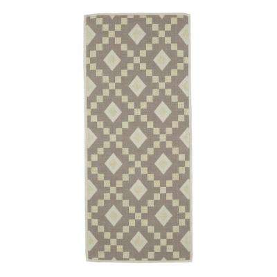 Nature Cotton Kilim Collection Grey Diamond Trellis Design 2 ft. x 5 ft. Runner Rug