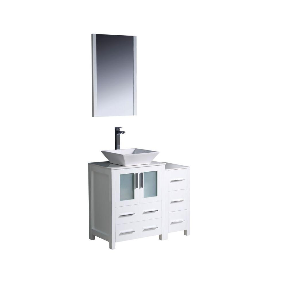 Fresca Torino 36 in. Vanity in White with Glass Stone Vanity Top in White with White Basin with Mirror and 1 Side Cabinet
