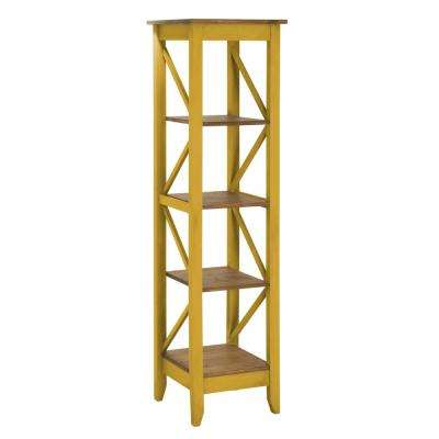 Jay 18.5 in. Yellow Wash Solid Wood Bookcase with 4-Shelves