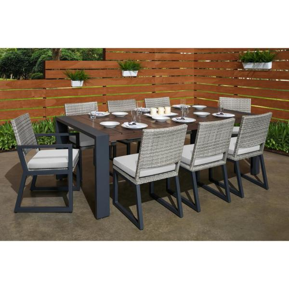 Milo Grey 9-Piece Wicker Outdoor Dining Set with Sunbrella Moroccan Cream Cushions
