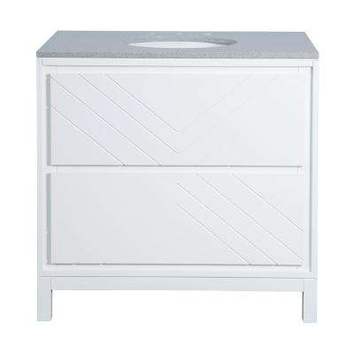 Clemente 36 in. W Single Vanity in White with Quartz Vanity Top in Grey with White Sink