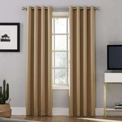 Oslo Woven Home Theater Grade Blackout Camel Grommet Single Curtain Panel - 52 in. W x 63 in. L