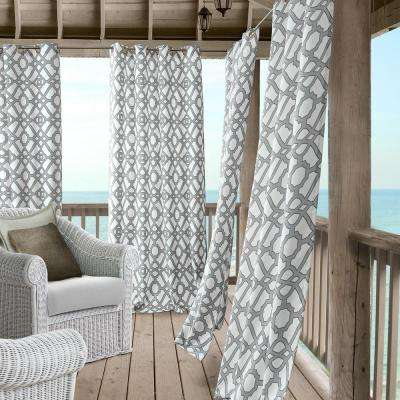 Marin 50 in. W x 95 in. L Polyester Indoor/Outdoor Single Window Curtain Panel in Gray