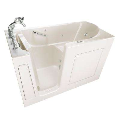Exclusive Series 60 in. x 30 in. Left Hand Walk-In Whirlpool and Air Bath Tub with Quick Drain in Linen