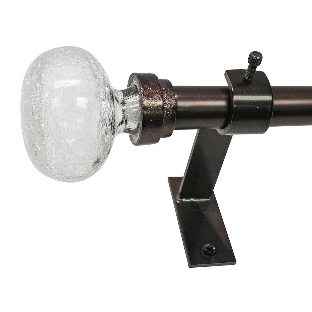 3/4 in. Crackle Glass Knob Telescoping Drapery Single Rod Set 36 in. - 72 in. in Oiled Bronze