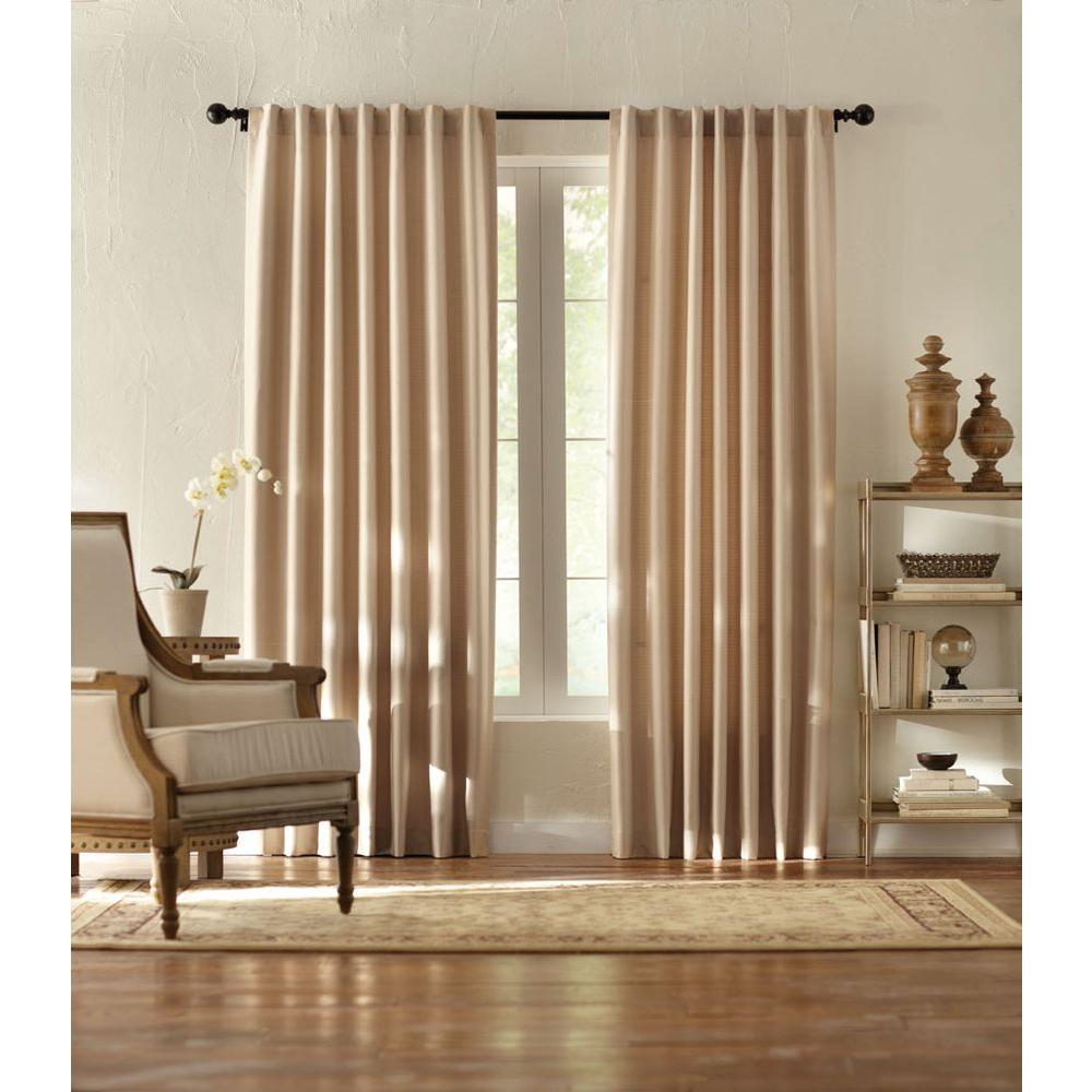 Home Decorators Collection Semi Opaque Taupe Textured Thermal Back Tab Curtain 1623981 The