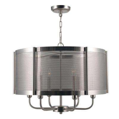 Xena Collection 6-Light Brushed Nickel Indoor Chandelier