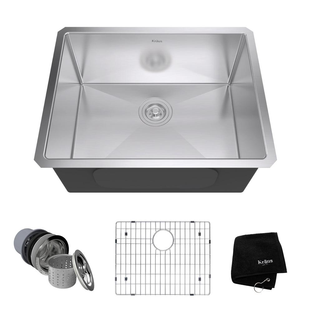 KRAUS Undermount Stainless Steel 23 in. Single Bowl Kitchen Sink Kit ...