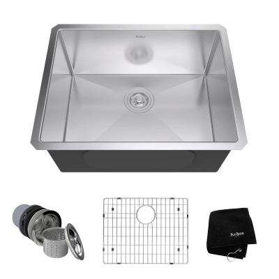 Undermount Stainless Steel 23 in. Single Basin Kitchen Sink Kit