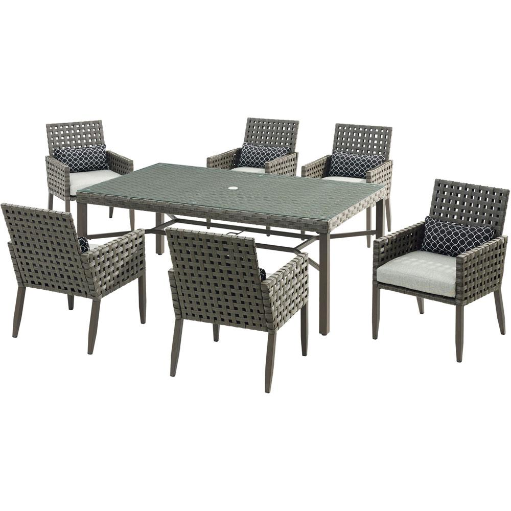 Archer 7-Piece Wicker Outdoor Dining Set with Silver Lining Cushions