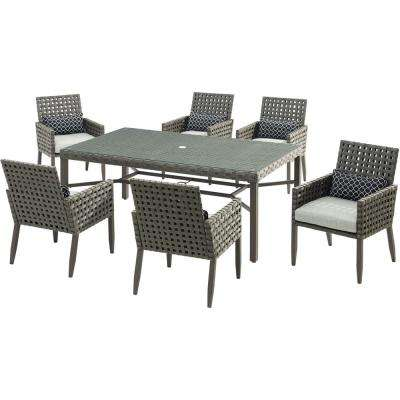 grey outdoor dining set sling archer 7piece wicker outdoor dining set with gray patio sets furniture the home depot