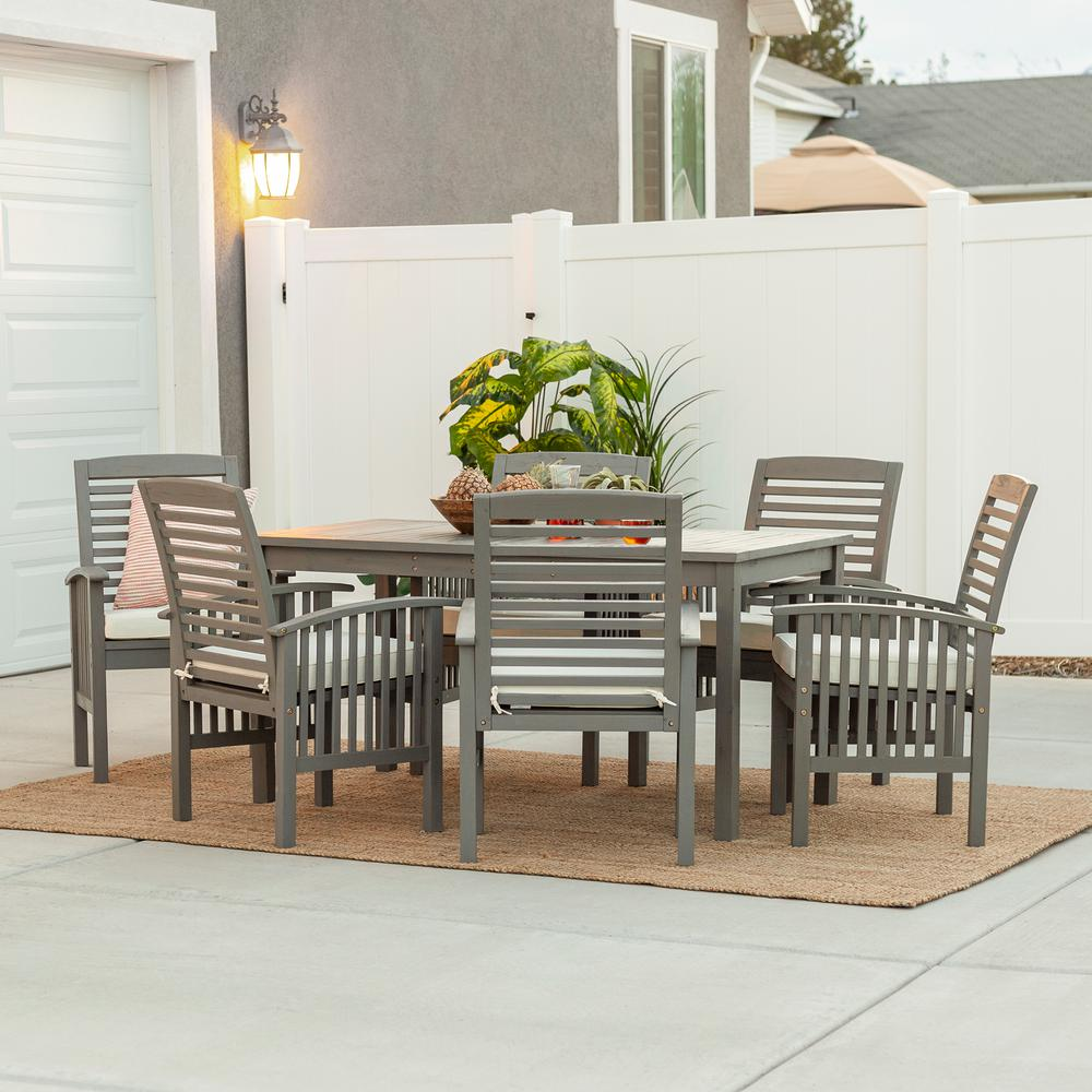 Walker Edison Furniture Company Grey Wash 7-Piece Simple ...