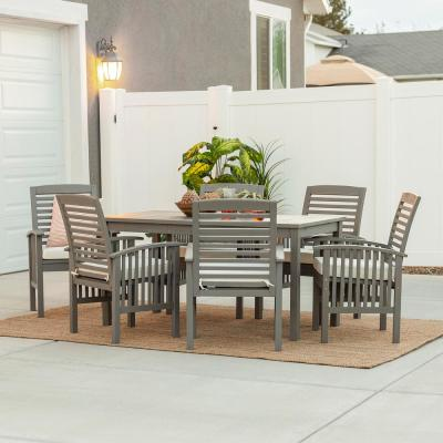 Grey Wash 7-Piece Simple Wood Outdoor Patio Dining Set with Cream Cushions