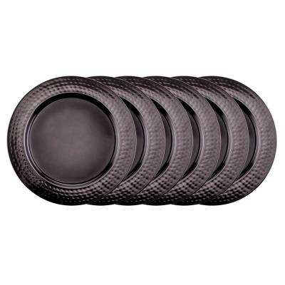 "13 in. D. ""Black Mirror"" Charger Plates with Hammered Rim (Set of 6)"