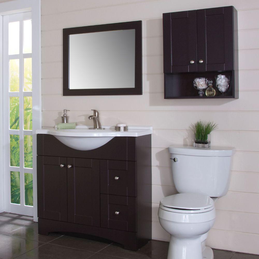 Fantastic Glacier Bay Del Mar 21 In W X 26 In H X 8 In D Over The Toilet Bathroom Storage Wall Cabinet In Espresso Interior Design Ideas Clesiryabchikinfo