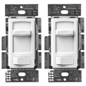 Skylark Contour LED+ Dimmer Switch for Dimmable LED, Halogen & Incandescent Bulbs, Single-Pole or 3-Way, White (2-Pack)