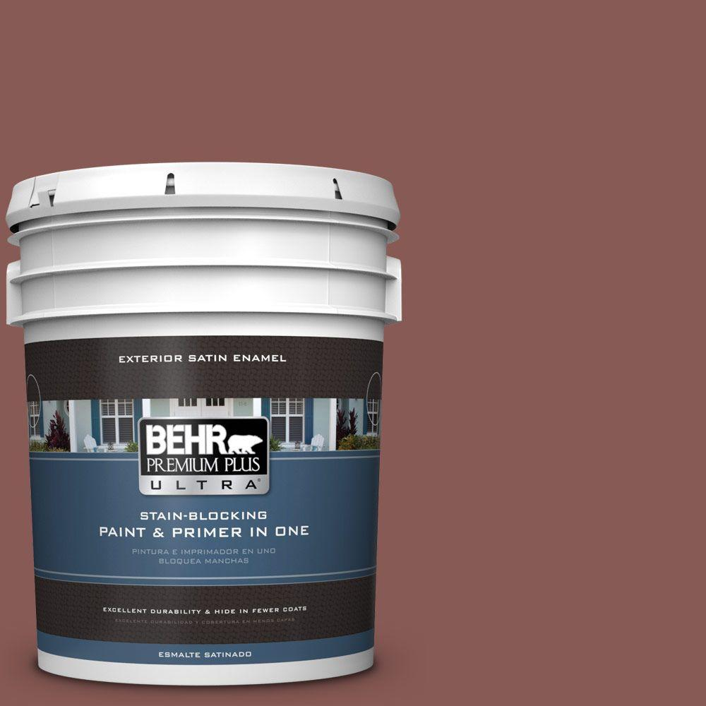 BEHR Premium Plus Ultra 5-gal. #PPU1-9 Red Willow Satin Enamel Exterior Paint