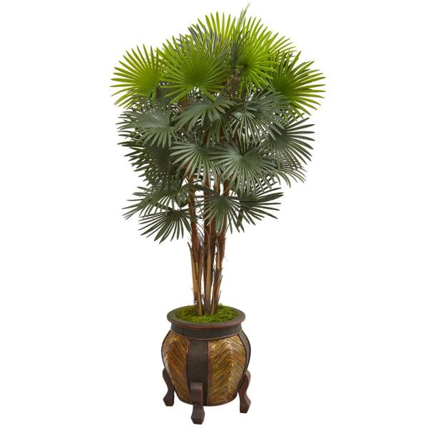 Nearly Natural 5 ft. Fan Palm Artificial Tree in Decorative Planter