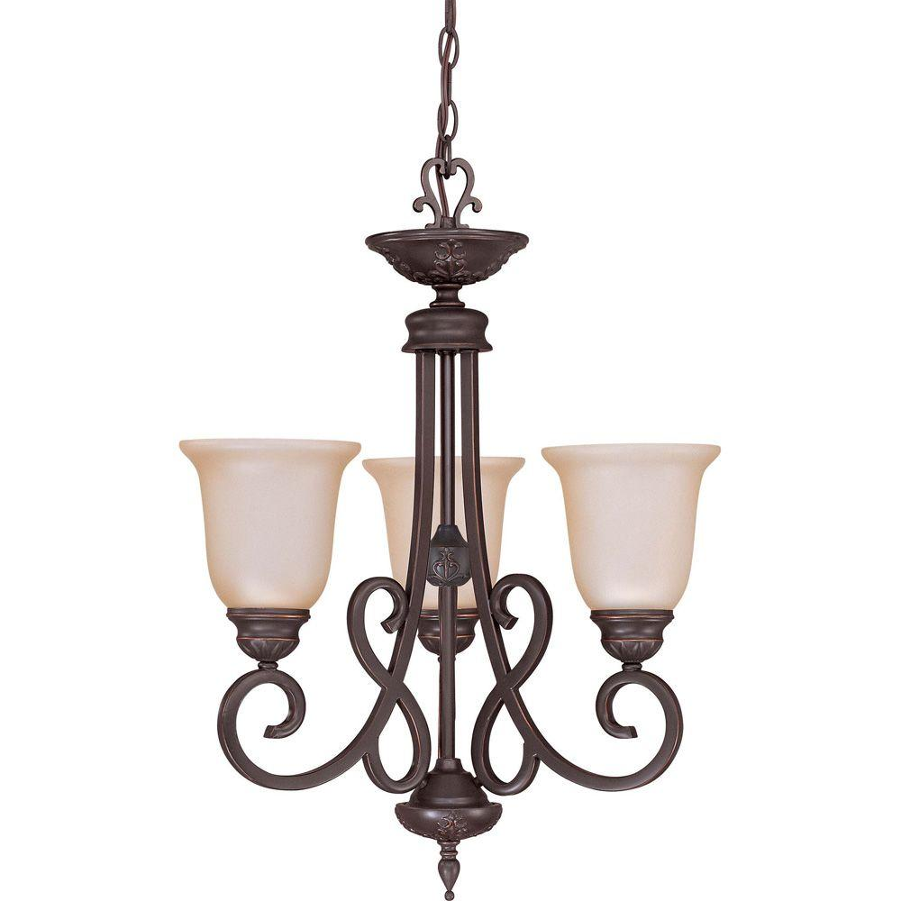 Glomar Halsey - 3-Light Chandelier with Vintage Champagne Glass Sudbury Bronze-DISCONTINUED