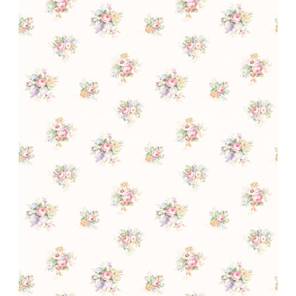 Brewster 56 sq. ft. Scroll Floral Bouquet Wallpaper