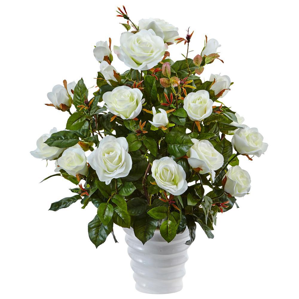 Nearly Natural Rose Bush Silk Arrangement in White