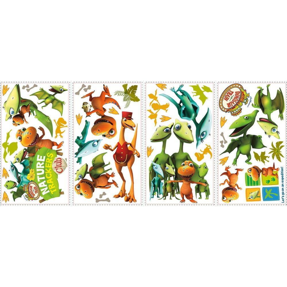 null 10 in. x 18 in. Dinosaur Train 36-Piece Peel and Stick Wall Decals