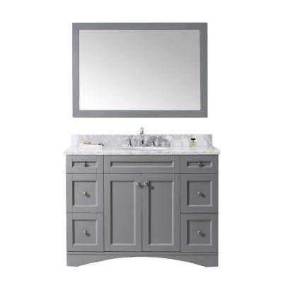 Virtu USA Elise 49 in. W Bath Vanity in Gray with Marble Vanity Top in White with Round Basin and Mirror