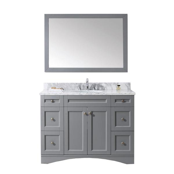 Elise 49 in. W Bath Vanity in Gray with Marble Vanity Top in White with Round Basin and Mirror